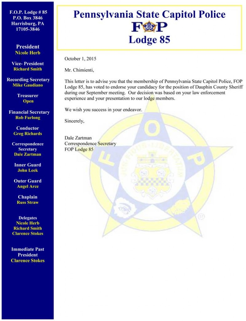 Pennsylvania State Capitol Police FOP Lodge 85 Endorse Nick Chimienti for Sheriff